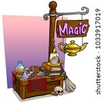 cartoon magic witch vendor... | Shutterstock .eps vector #1033917019