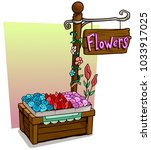 cartoon flowers vendor booth or ... | Shutterstock .eps vector #1033917025