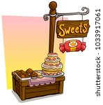 cartoon sweets candy vendor... | Shutterstock .eps vector #1033917061