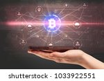 hand using phone with... | Shutterstock . vector #1033922551