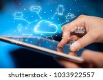 hand working with cloud... | Shutterstock . vector #1033922557