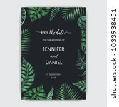 wedding invitation with exotic... | Shutterstock .eps vector #1033938451