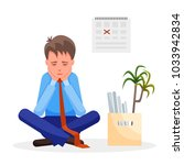 young man sits upset after... | Shutterstock .eps vector #1033942834