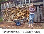 beautiful youngcountry  woman... | Shutterstock . vector #1033947301