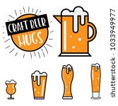 craft beer glasses and mugs set ... | Shutterstock .eps vector #1033949977