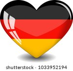 Germany Flag In A Glass Heart...