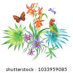 composition from tropical... | Shutterstock . vector #1033959085