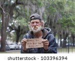 Dirty Homeless Man Holding Sign ...