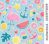 summer beach elements seamless... | Shutterstock . vector #1033973059