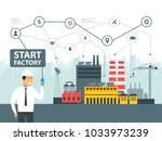 smart factory and network icons.... | Shutterstock .eps vector #1033973239