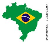 map of brazil with national flag | Shutterstock .eps vector #1033973254
