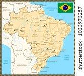 brazil map with neighboring... | Shutterstock .eps vector #1033973257