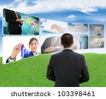 businessman with business images - stock photo