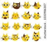cute cartoon cat doodle set ...   Shutterstock .eps vector #1033986307