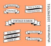 black and white vintage ribbons ... | Shutterstock .eps vector #1033987051