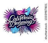 california dreaming hand... | Shutterstock .eps vector #1033987801