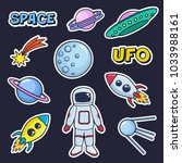 patches cute set with space... | Shutterstock .eps vector #1033988161