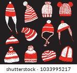 set of knitted winter caps | Shutterstock .eps vector #1033995217