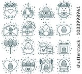 collection of easter line icons ... | Shutterstock .eps vector #1033998961