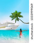 cruise vacation woman on... | Shutterstock . vector #1033999069
