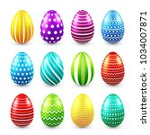 easter eggs colored set. spring.... | Shutterstock .eps vector #1034007871
