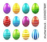 easter eggs colored set. spring.... | Shutterstock .eps vector #1034007889