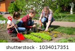happy big family working in...   Shutterstock . vector #1034017351