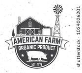 american farm badge or label.... | Shutterstock .eps vector #1034026201