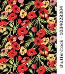 colorful poppy pattern...   Shutterstock . vector #1034028304