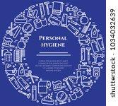 personal hygiene blue banner... | Shutterstock .eps vector #1034032639