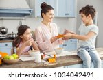 happy family. beautiful content ... | Shutterstock . vector #1034042491