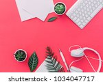 pastel office desk table with a ... | Shutterstock . vector #1034047717