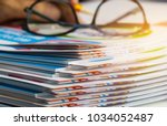 stack of report paper documents ... | Shutterstock . vector #1034052487