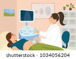 ultrasonography of pregnant... | Shutterstock .eps vector #1034056204
