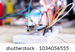breadboard connected to arduino.... | Shutterstock . vector #1034056555
