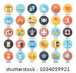 abstract vector set of colorful ... | Shutterstock .eps vector #1034059921