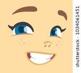 cartoon girl smiling avatar.... | Shutterstock .eps vector #1034061451