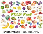 watercolor painted collection... | Shutterstock .eps vector #1034063947