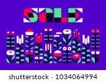 sale banner or flyer with wild... | Shutterstock .eps vector #1034064994