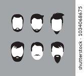 bearded men faces | Shutterstock .eps vector #1034068675