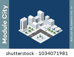 winter isometric city with... | Shutterstock .eps vector #1034071981