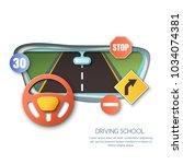 vector driving school concept.... | Shutterstock .eps vector #1034074381
