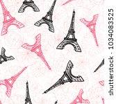 vector black pink eifel tower... | Shutterstock .eps vector #1034083525