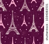vector purple pink eifel tower... | Shutterstock .eps vector #1034083531
