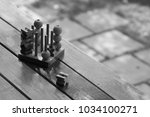 ox  tic tac toe  wood board... | Shutterstock . vector #1034100271