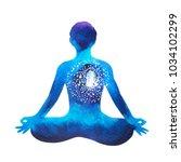 chakra human lotus pose yoga ... | Shutterstock . vector #1034102299