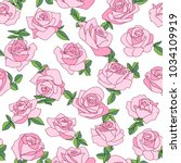 seamless pattern with roses.... | Shutterstock .eps vector #1034109919