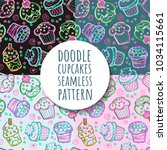 doodle cupcake seamless pattern | Shutterstock .eps vector #1034115661