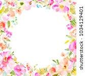 pink watercolor flowers frame | Shutterstock . vector #1034129401