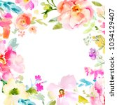 Stock photo square floral background with a colorful spring watercolor flowers frame border 1034129407